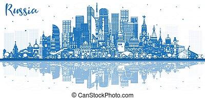 reflections., ロシア, 建物都市, スカイライン, アウトライン, 青