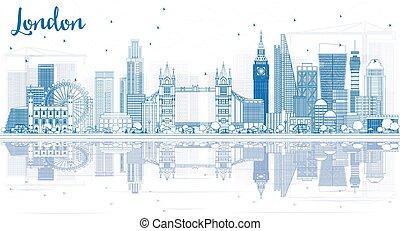 reflections., ロンドン, 建物, スカイライン, アウトライン, 青
