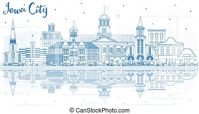 reflections., 建物, スカイライン, 都市, アウトライン, アイオワ, 青