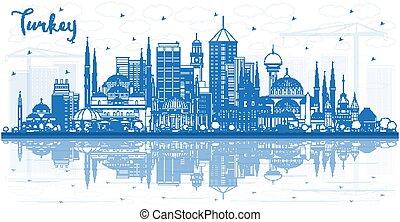 reflections., 建物, トルコ, 都市 スカイライン, アウトライン, 青
