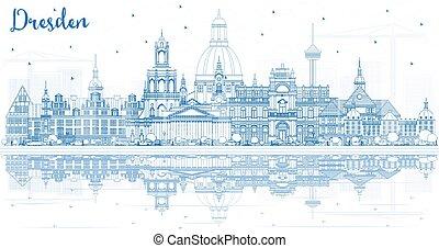 reflections., alemania, dresden, edificios, contorno, ciudad, contorno, azul