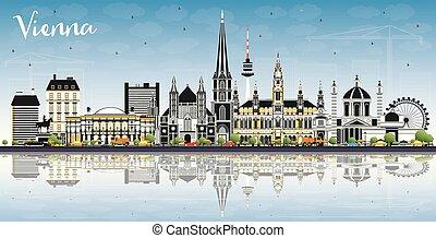 reflections., austria, cielo, costruzioni, colorare, orizzonte, città, vienna, blu