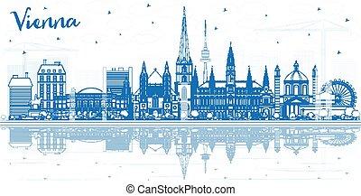 reflections., austria, città costruzioni, orizzonte, vienna, contorno, blu