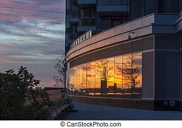 Reflections Boston sunrise