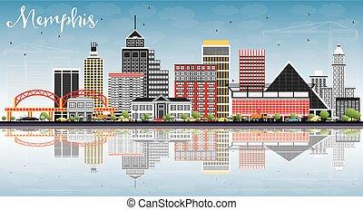 reflections., cielo, memphis, edificios, color, contorno, ...