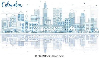 reflections., columbus, gebäude, skyline, grobdarstellung, blaues