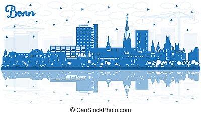 reflections., contorno, bonn, azul, ciudad, alemania, ...