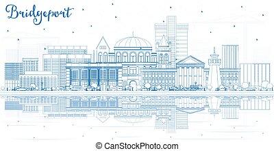 reflections., contour, bridgeport, bâtiments, horizon, ville...