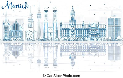 reflections., edificios, contorno, munich, contorno, azul