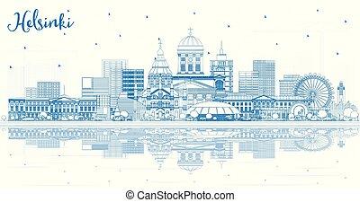 reflections., finlande, bâtiments, helsinki, horizon, ville...