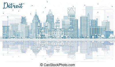 reflections., gebäude, detroit, skyline, grobdarstellung, blaues