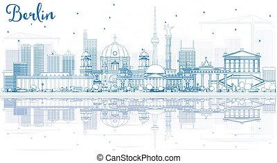 reflections., gebäude, skyline, grobdarstellung, berlin, blaues