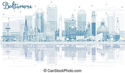 reflections., grobdarstellung, gebäude, skyline, baltimore, blaues