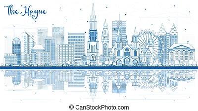 reflections., hague, netherlands, 建物都市, スカイライン, アウトライン, 青