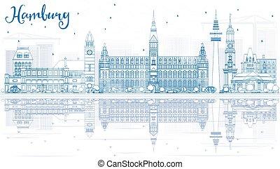 reflections., hambourg, bâtiments, horizon, contour, bleu