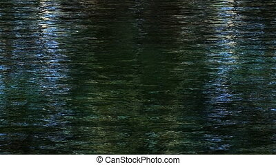 Reflections in dark shimmering water - Trees reflecting in...