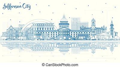 reflections., jefferson, missouri, costruzioni, orizzonte, città, contorno, blu