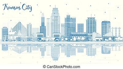 reflections., kansas, missouri, costruzioni, orizzonte, città, contorno, blu