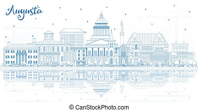 reflections., maine, bâtiments, horizon, ville, contour, ...