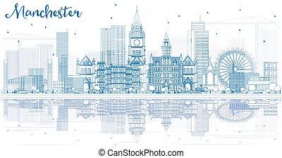 reflections., manchester, gebäude, skyline, grobdarstellung, blaues