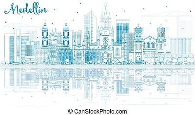 reflections., medellin, gebäude, skyline, grobdarstellung, blaues
