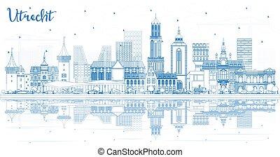 reflections., netherlands, utrecht, 建物, スカイライン, 都市, アウトライン, 青