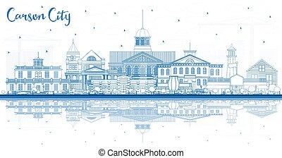 reflections., nevada, carson, città costruzioni, orizzonte, contorno, blu