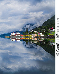 Fjord with reflection in west Norway