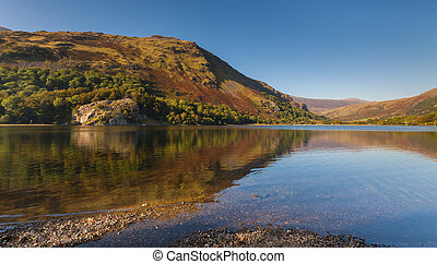 Reflections of Autumn Colours in a Snowdonia Lake
