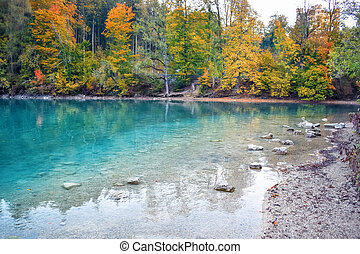 Reflections of autumn forest in clear water in a lake with stones on the shore