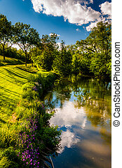 Reflections of clouds and trees in Antietam Creek, at Antietam National Battlefield, Maryland (Vertical).