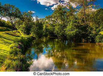 Reflections of clouds and trees in Antietam Creek, at Antietam National Battlefield, Maryland (Horizontal).