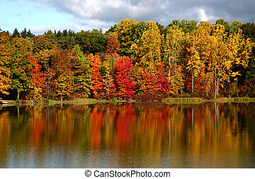 Fall colors reflected in a smooth lake