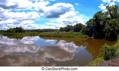 Reflections of green forest, blue sky and clouds in the calm water of lake