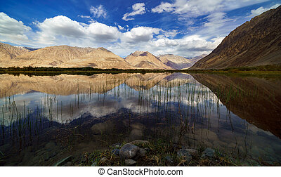 Reflections of the mountains in a natural pond, Nubra Valley , Jammu and Kashmir, India