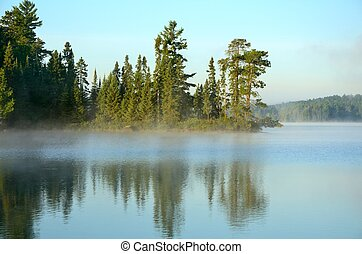 Reflections on a Foggy Wilderness Lake