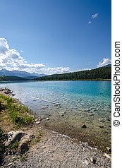 Reflections on Patricia Lake in Jasper in Canada