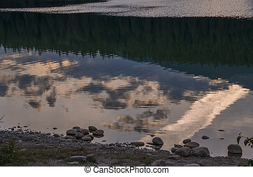 Reflections on Patricia Lake in Jasper in Canada
