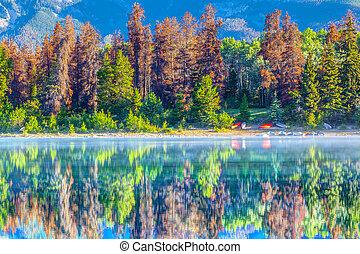 Reflections on Patricia Lake in Jasper National Park Alberta Canada