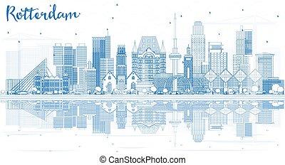 reflections., rotterdam, 建物都市, スカイライン, アウトライン, 青