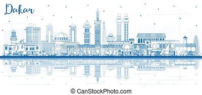reflections., sénégal, ville bâtiments, horizon, contour, dakar, bleu