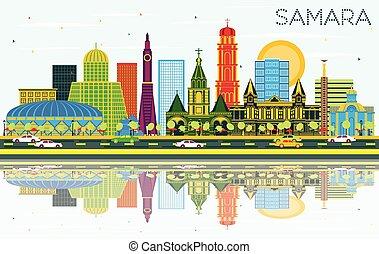 reflections., samara, azul, ciudad, edificios, rusia, cielo,...