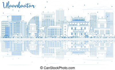 reflections., ulaanbaatar, edificios, contorno, contorno, ...