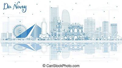reflections., vietnam, da, nang, ciudad de edificios, ...