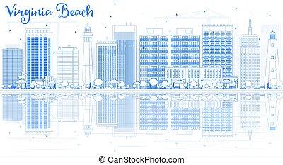 reflections., virginie, bâtiments, horizon, contour, plage, ...