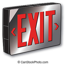REFLECTIVE EXIT SIGN - Exit Sign with a reflective surface.