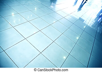 Reflective Floor - A reflective floor in a waiting hall.