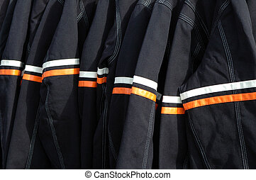 Reflective motorcycle jacket detail.