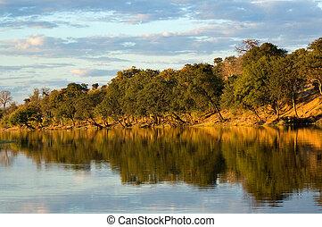 Botswana - Reflective lake at dusk in Botswana