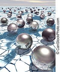 Reflective metal spheres on ice - Reflective metal spheres...